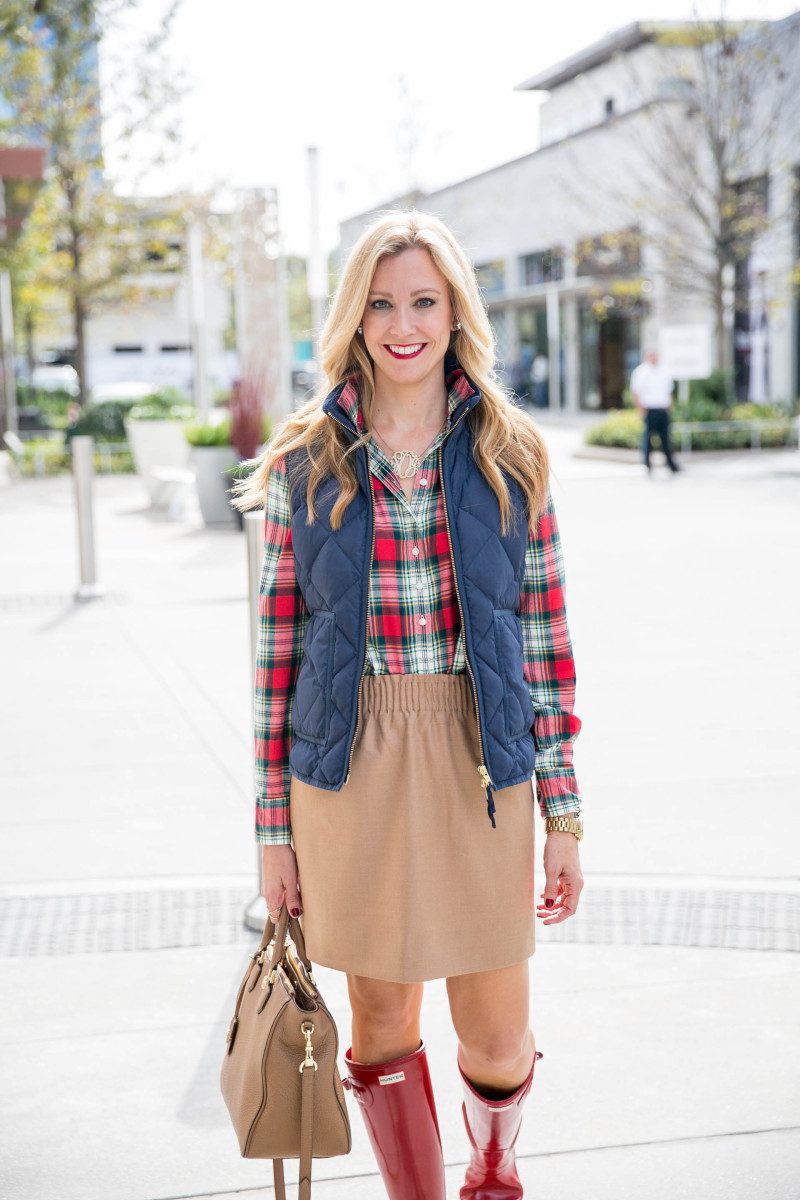 Plaid Shirt and Puffer Vest