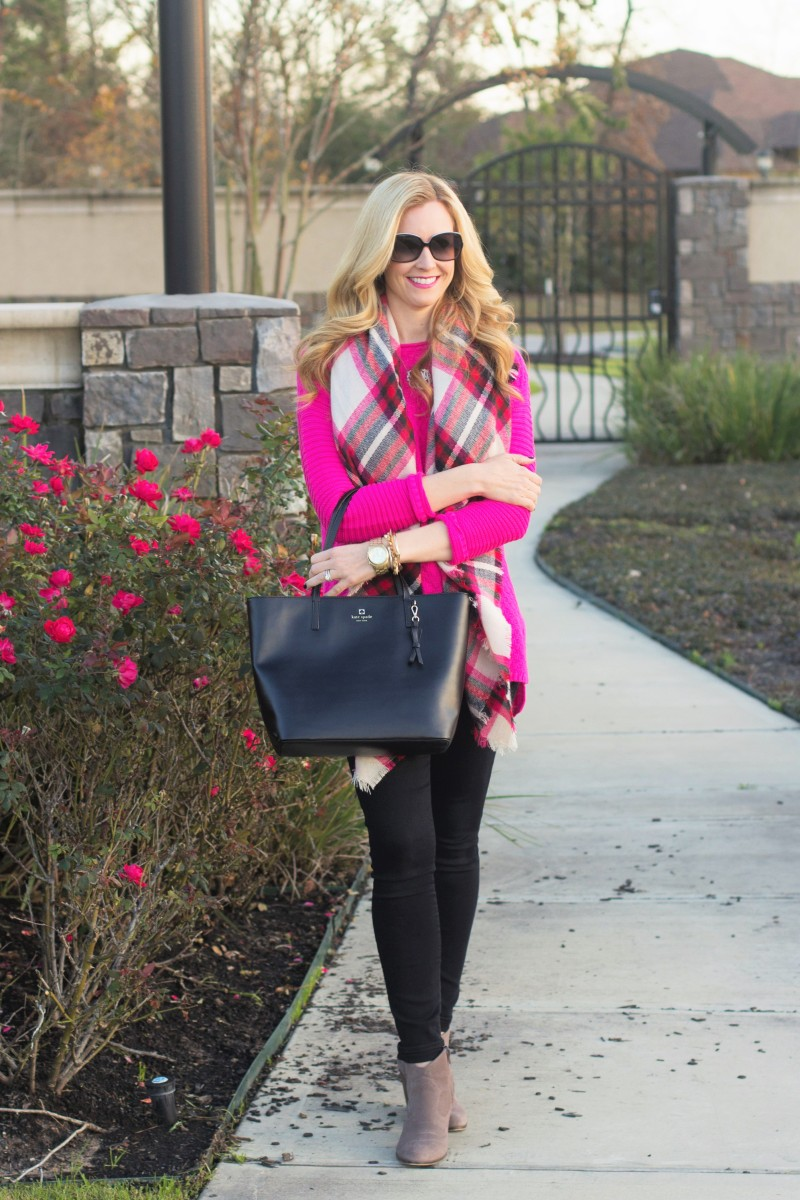 Hot Pink Sweater and Blanket Scarf - Haute & Humid