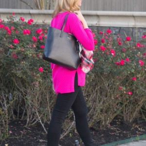 1c05bdbb02794 hot pink sweater from Nordstrom by vince camuto. black paige denim. black  kate spade tote, blanket scarf, taupe booties, kate spade sunglasses, ...