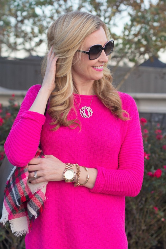 Hot Pink Sweater And Blanket Scarf Haute Amp Humid