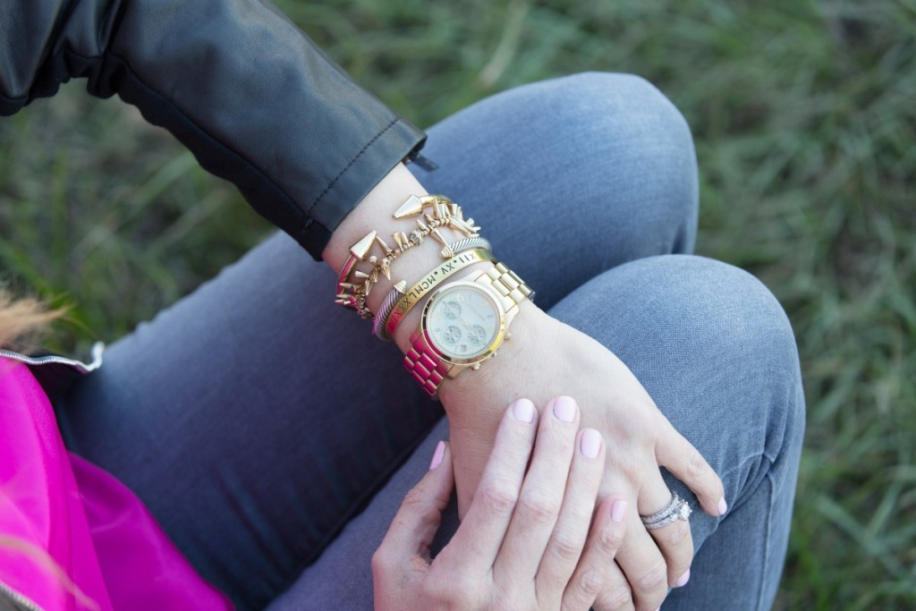 Gold Bracelets and Watch