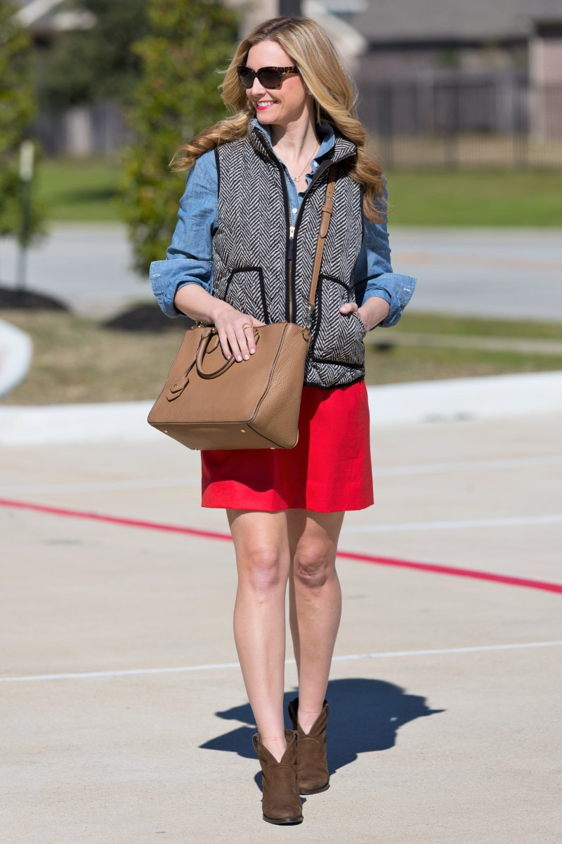 chambray and puffer vest