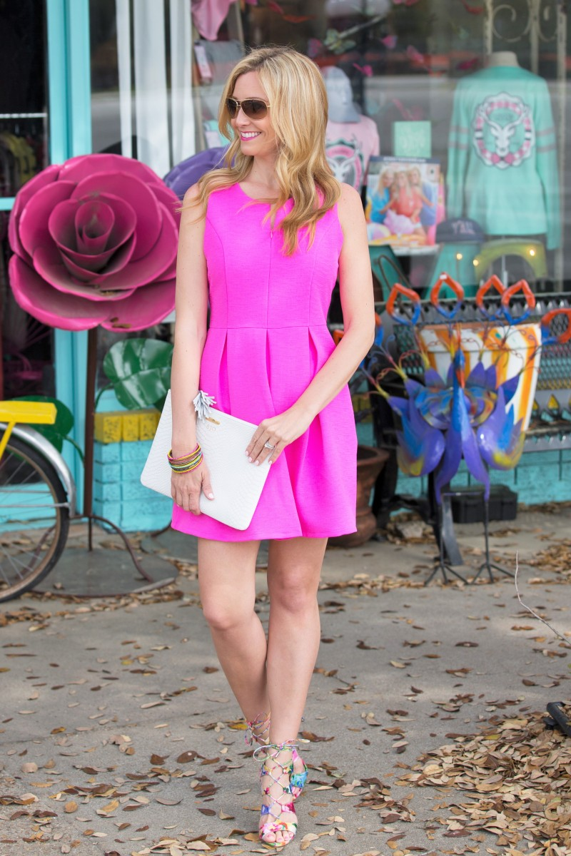 Hot Pink Dress and Lace Up Sandals - Haute &amp Humid