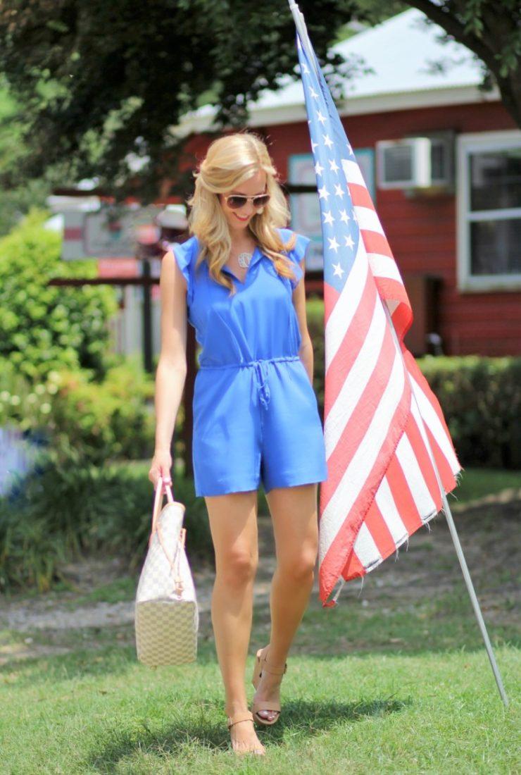 Patriotic Blue Romper