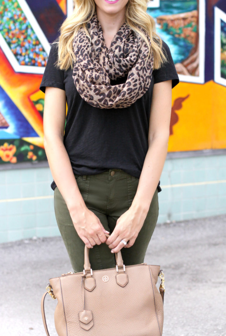 Casual Fall Look + Leopard Scarf