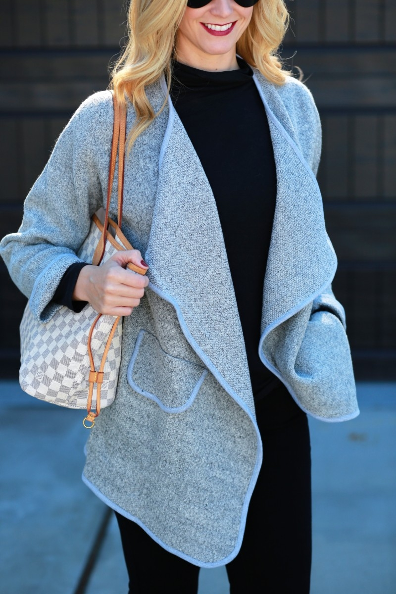 Grey Cardigan and Black on Black