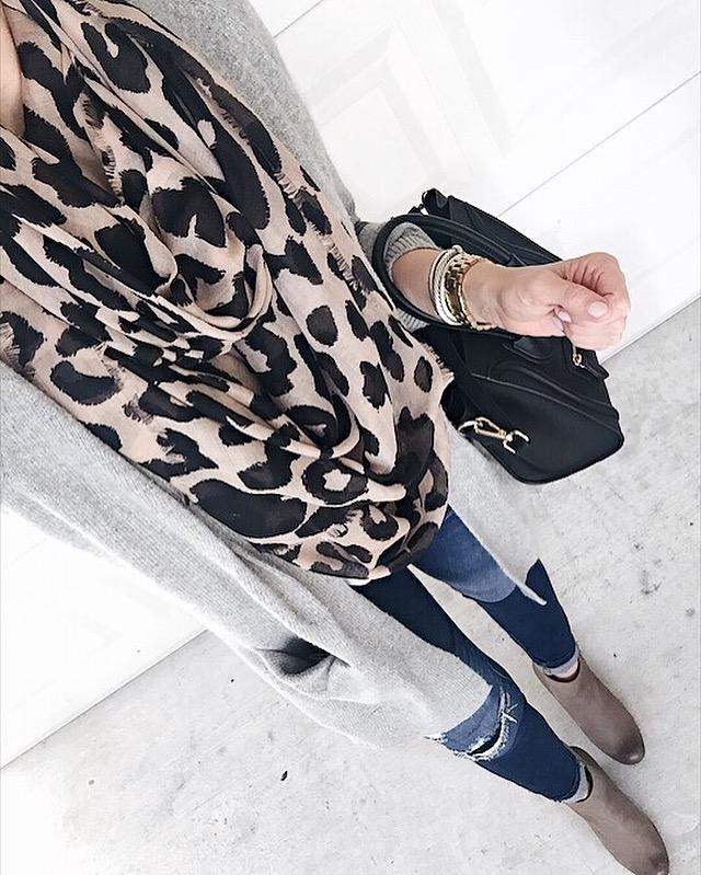 leopard scarf and grey cardigan