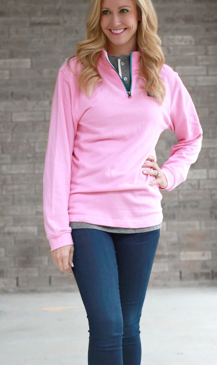 Pink Pullover and Grey Henley with Lauren James