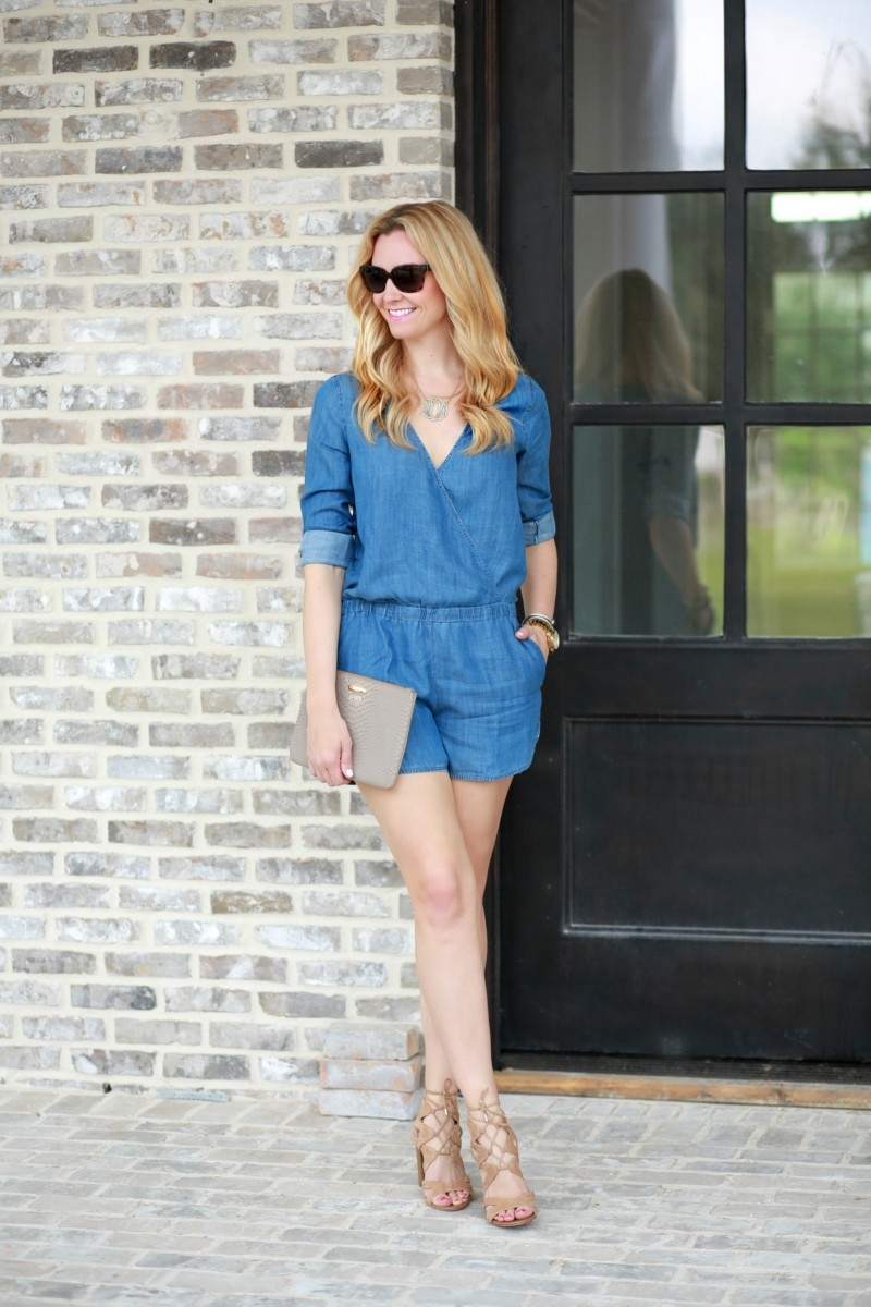 Chambray Romper + Favorite Straw Bags