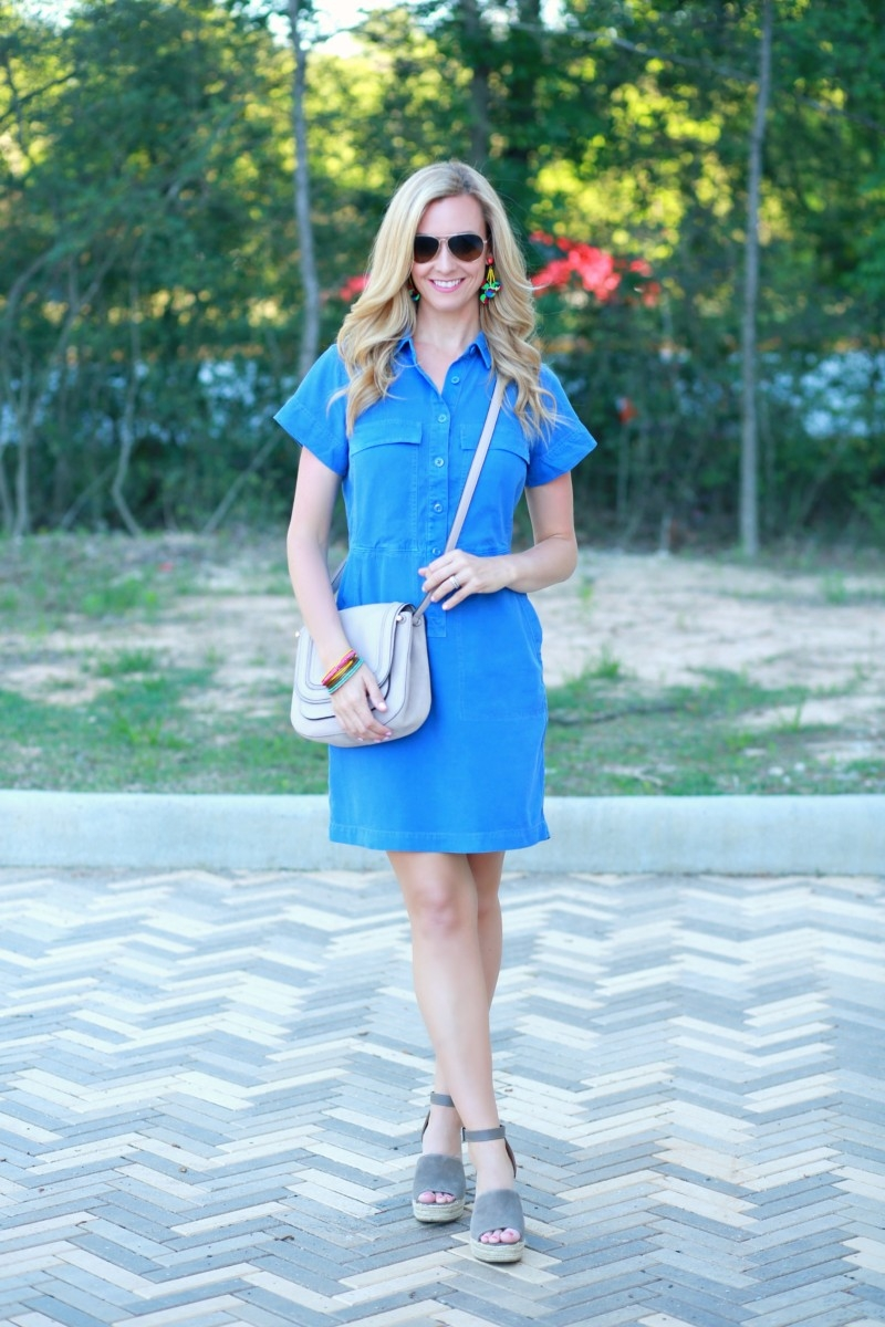 a380cfa210f Blue Spring Dress Styled Up and Down by fashion blogger Sara of Haute    humid