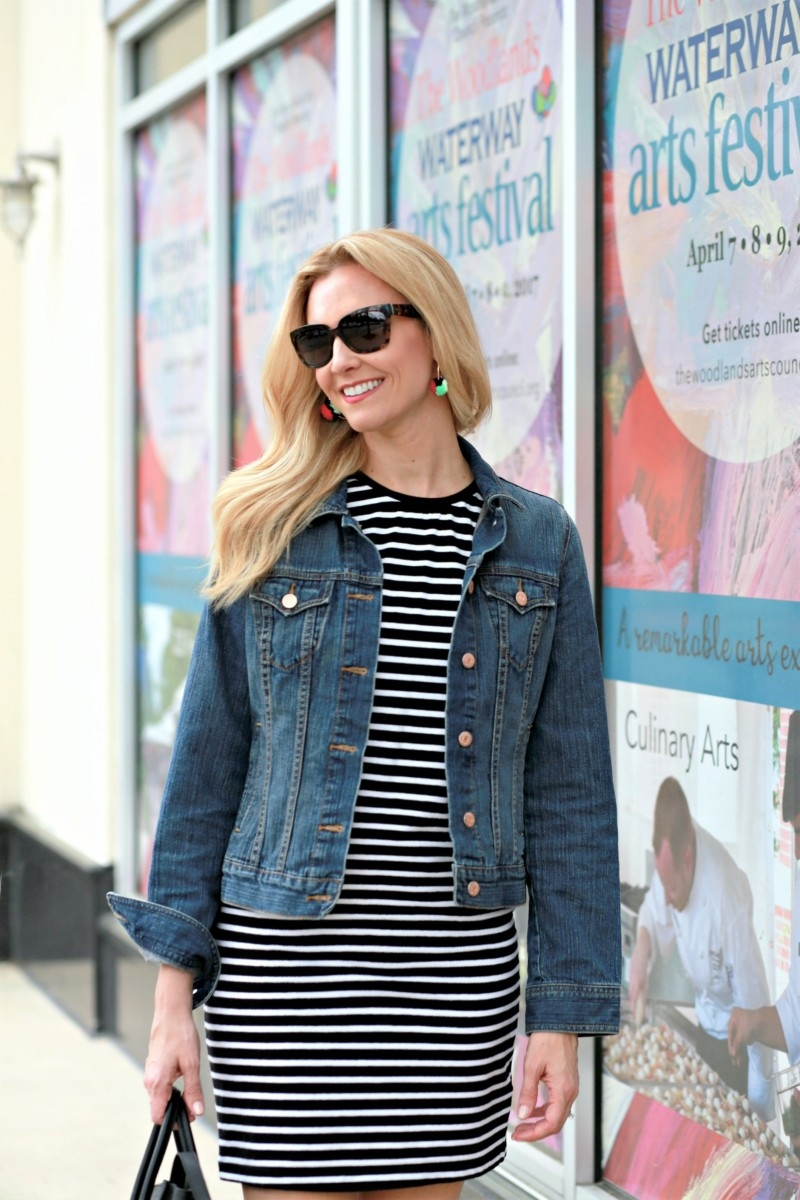 7964efd0b19 Next on my spring must haves list is a simple striped t-shirt dress. This  dress has a classic look and can even be worn to work if you add a blazer  ...