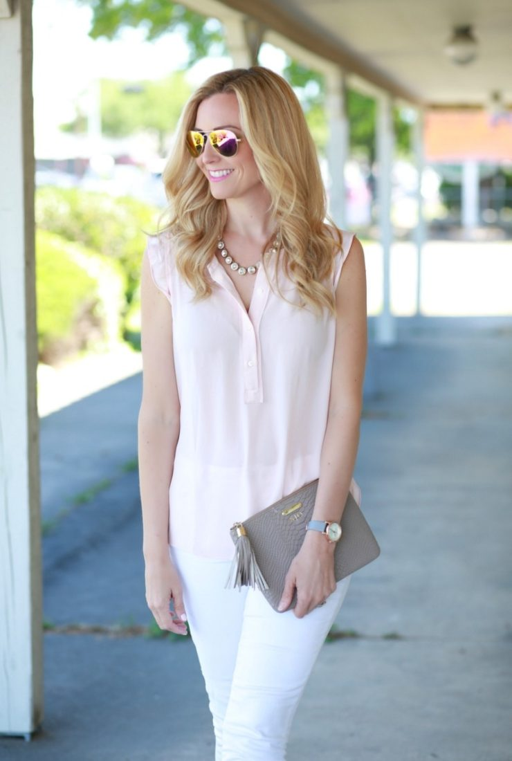 Blush Top with Ruffle Sleeves