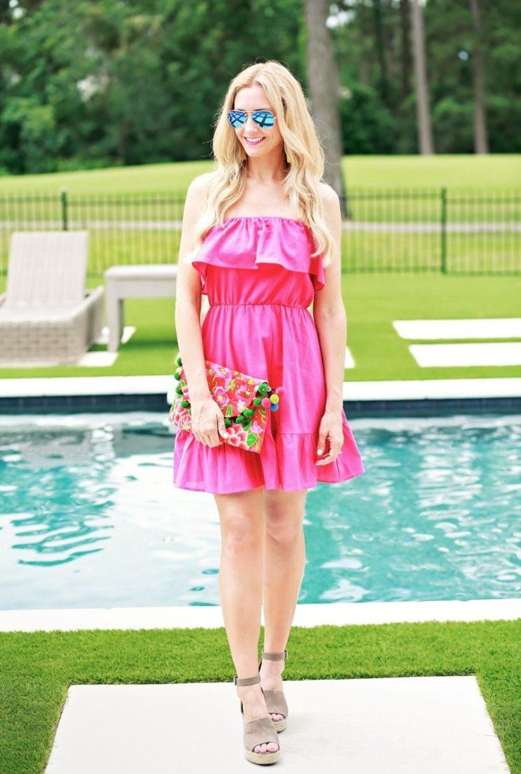 Pink Strapless Dress + Ruffles