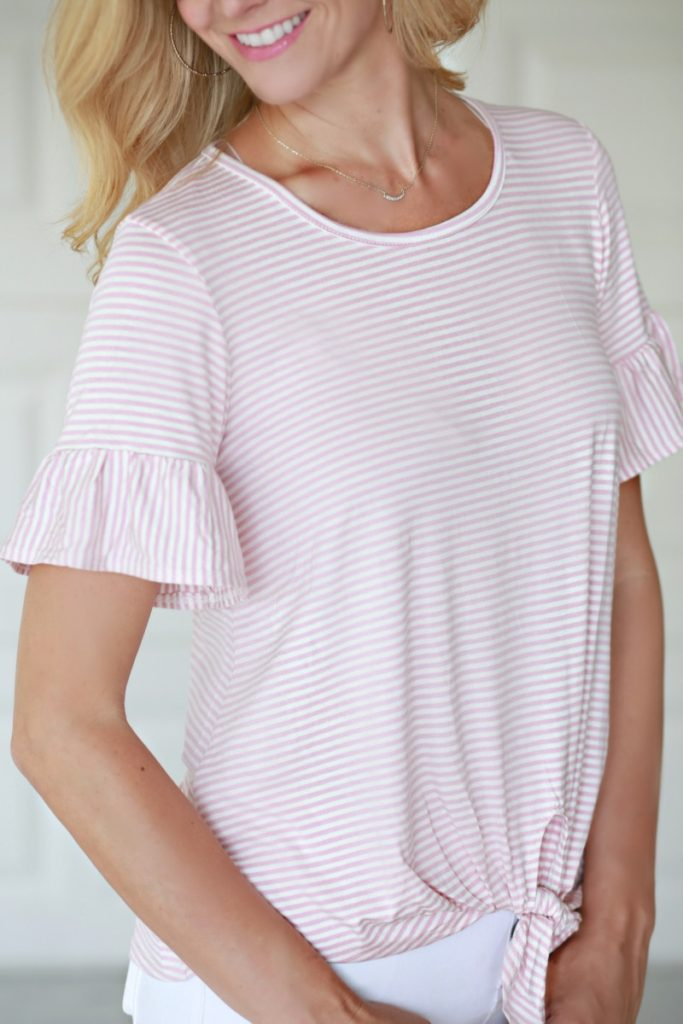 Pink & Striped Ruffle Sleeve Top by Houston fashion blogger Sara of Haute & Humid