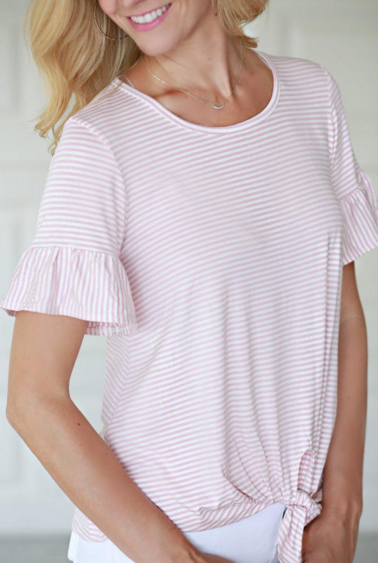 Pink & Striped Ruffle Sleeve Top