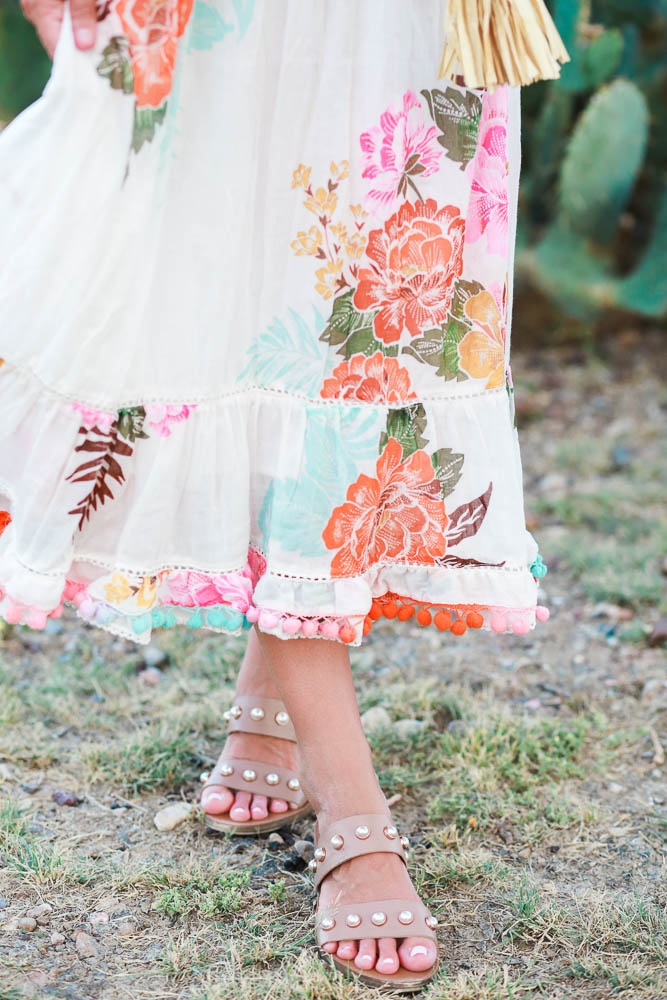 Floral Maxi Dress with Pompom Details Under $100