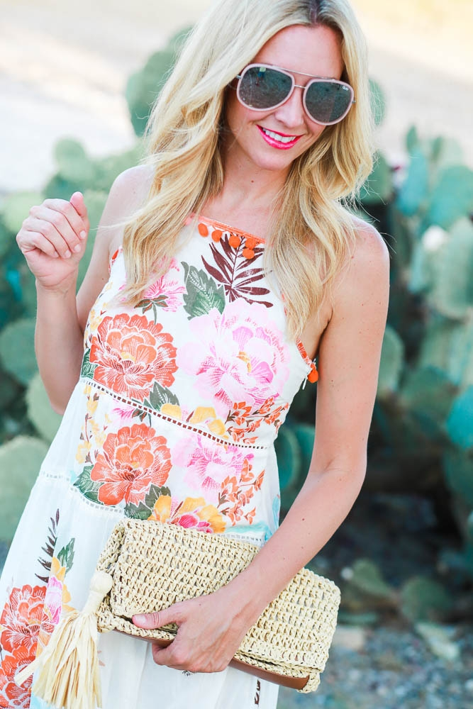 Floral Maxi Dress with Pompom Details Under $100 by Houston fashion blogger Haute & Humid