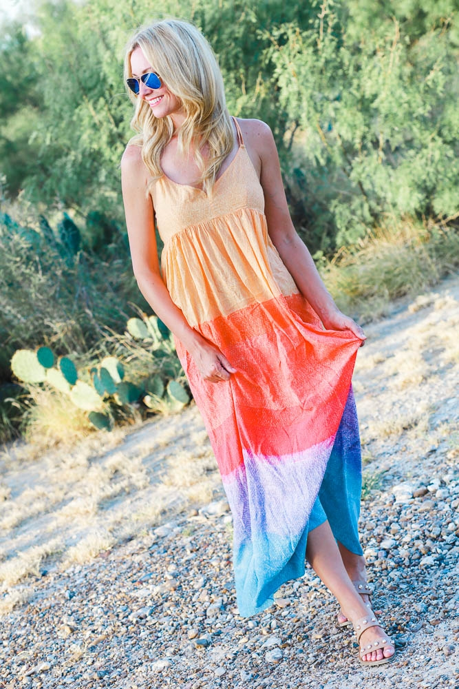 Ombre Rainbow Maxi Dress + Weekend Sales by Houston fashion blogger Haute & Humid