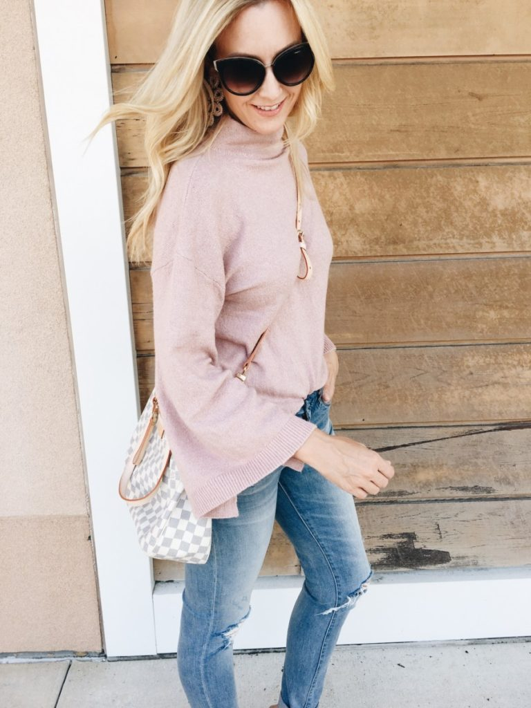 Pink Bell Sleeve Sweater & Things I'm Loving Lately by Houston fashion blogger Haute & Humid