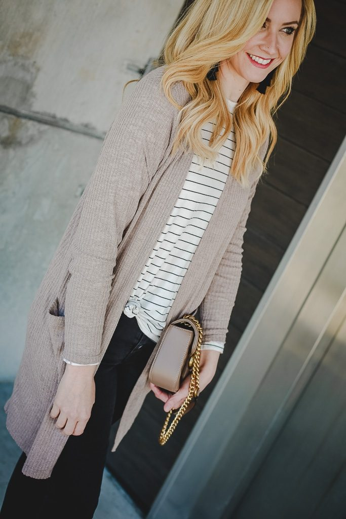 neutral cardigan by popular Houston fashion blogger Haute & humid