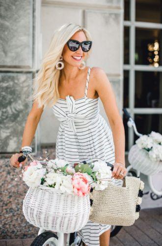 Striped Midi Dress And Summer Accessories
