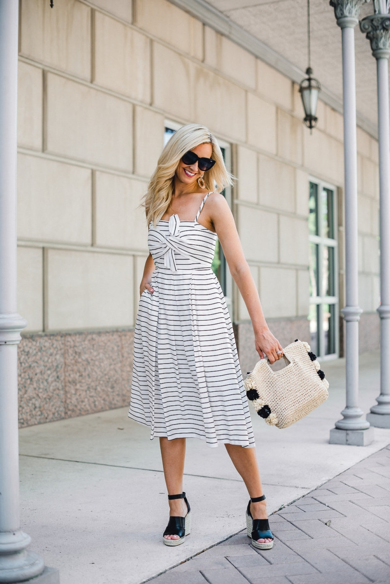 striped midi dress - Striped Midi Dress And Summer Accessories featured by popular Houston fashion blogger, Haute & Humid