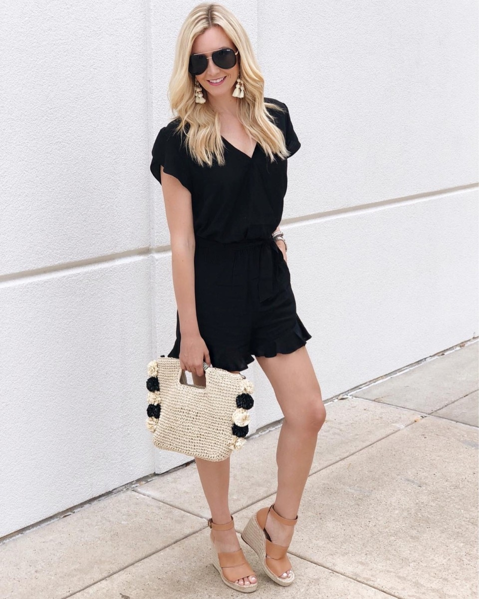 black romper - 7 Fall Rompers Under $100 featured by popular Houston fashion blogger Haute & Humid