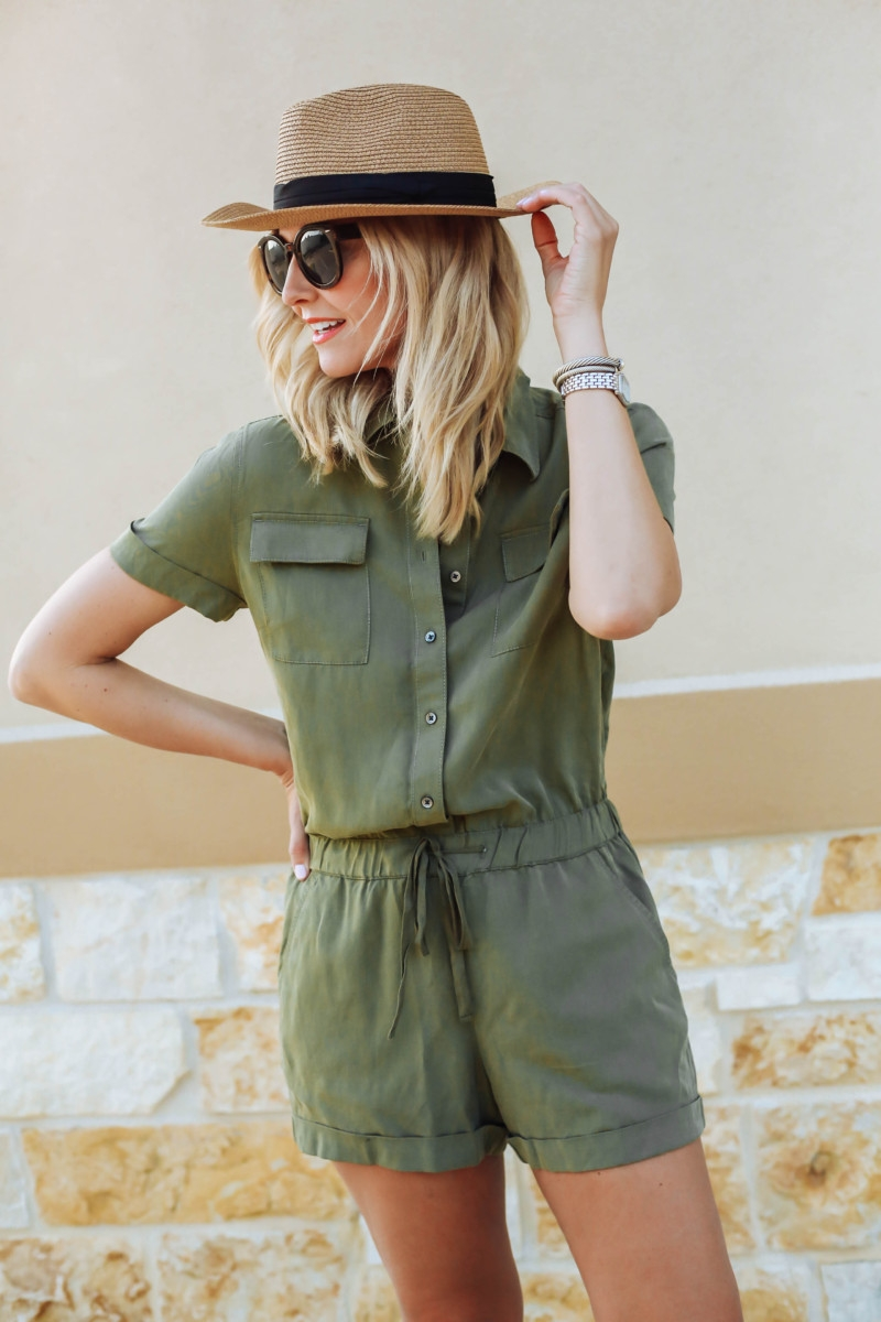 7 Fall Rompers Under $100 featured by popular Houston fashion blogger Haute & Humid