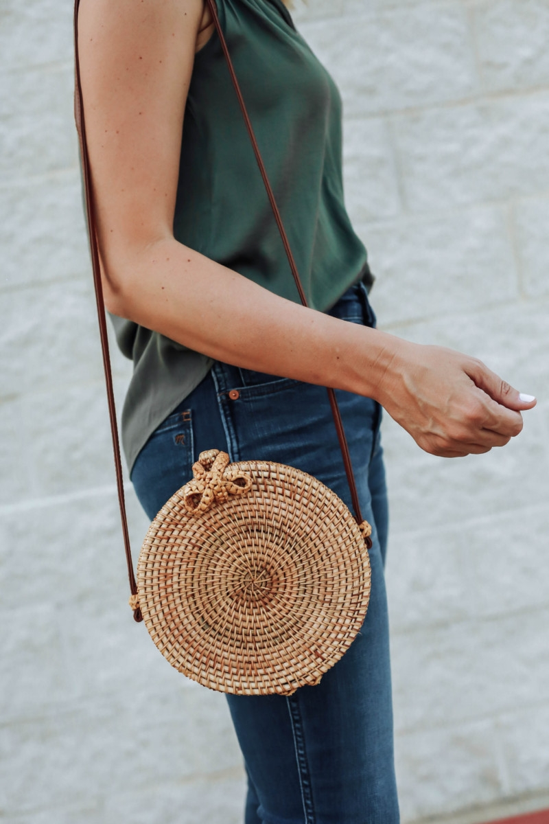 round straw bag - Transitioning Your Summer Wardrobe Into Fall featured by popular Houston fashion blogger Haute & Humid