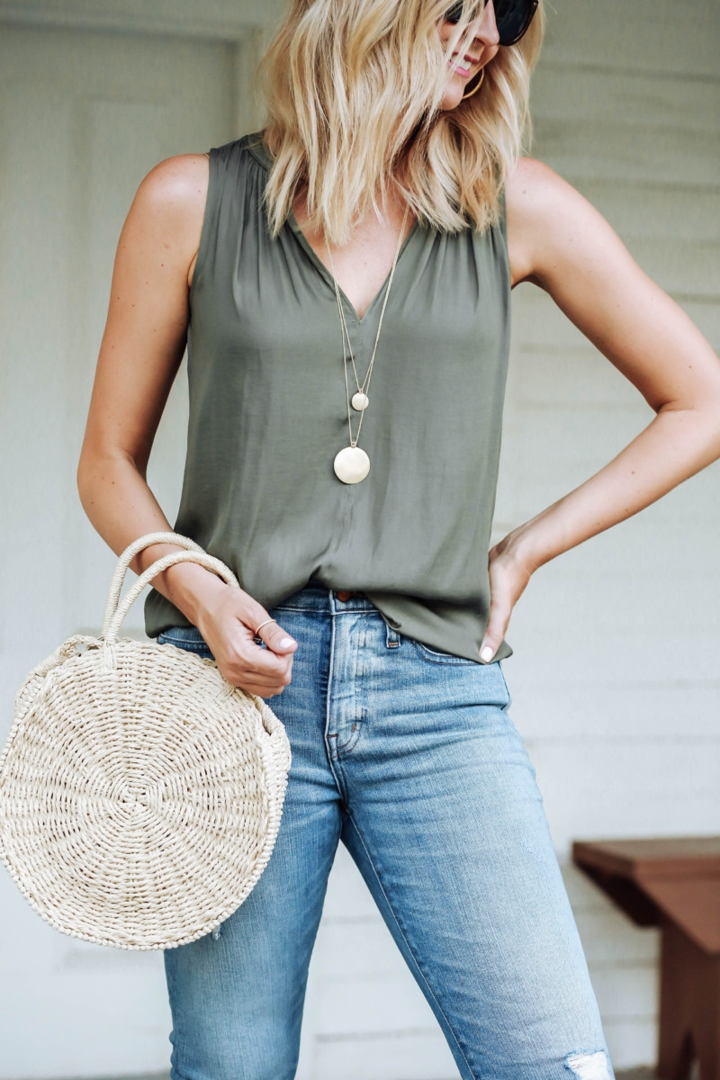 long gold necklace - Transitioning Your Summer Wardrobe Into Fall featured by popular Houston fashion blogger Haute & Humid
