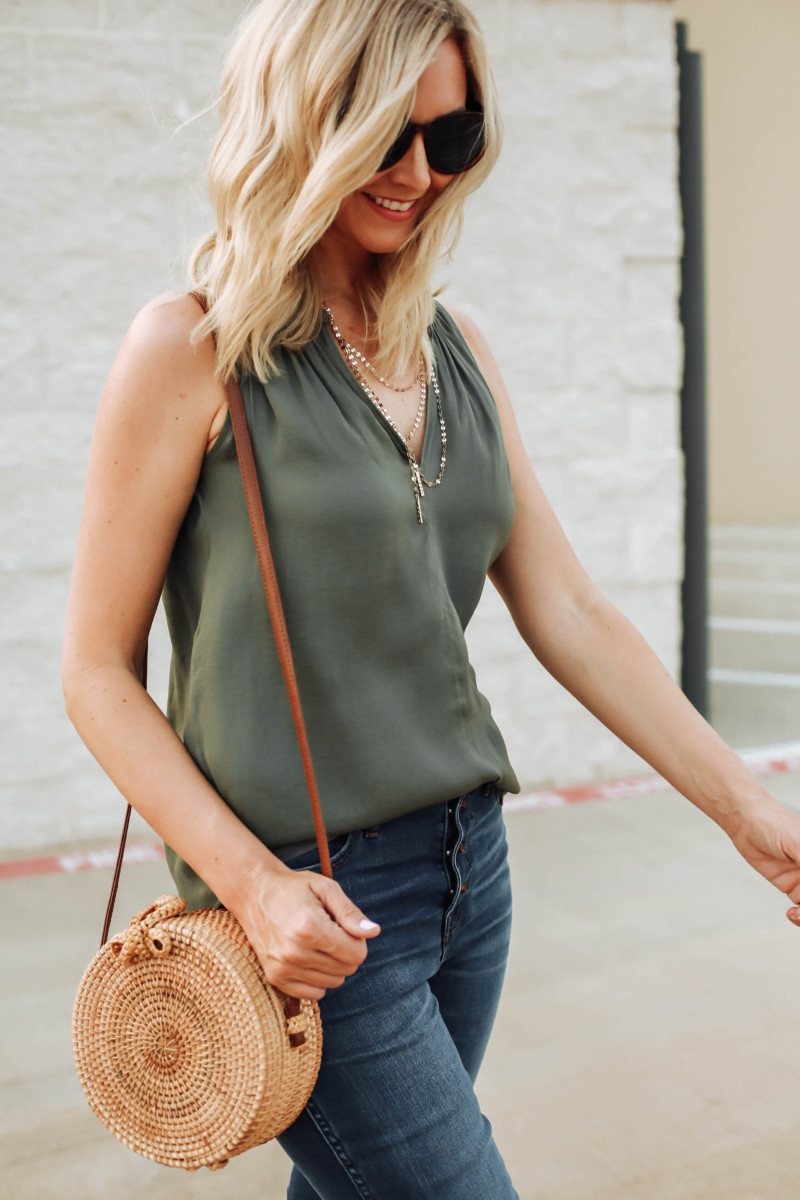 olive top - Transitioning Your Summer Wardrobe Into Fall featured by popular Houston fashion blogger Haute & Humid