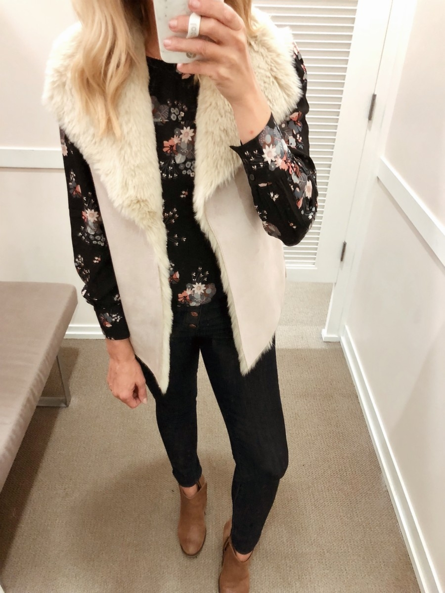 faux fur vest | Friends & Family Sale | Fashion | LOFT Sale Try On featured by top Houston fashion blog Haute & Humid