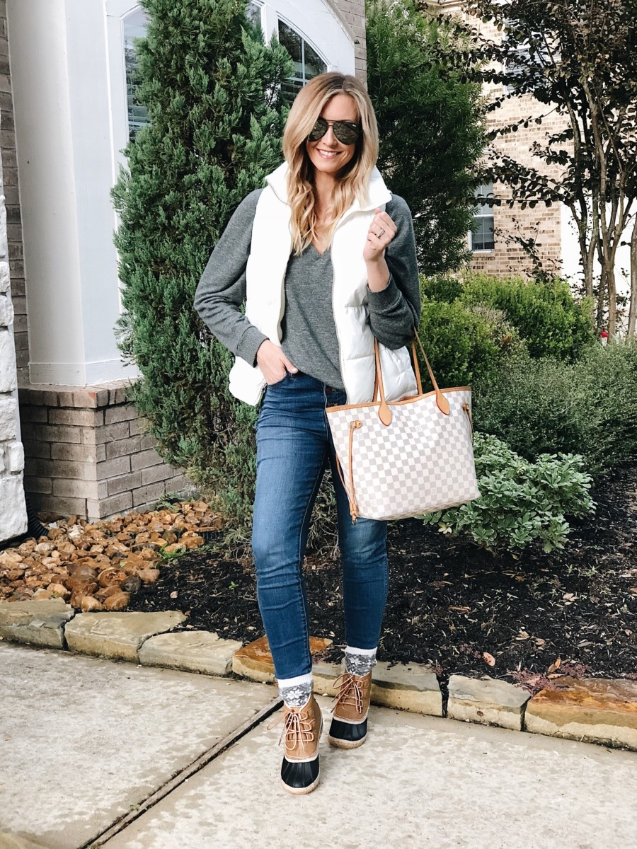 The Best Black Friday And Cyber Monday Sales featured by top Houston life and style blog, Haute & humid: picture of a woman wearing a Fall outfit in which everything is on sale for Black Friday