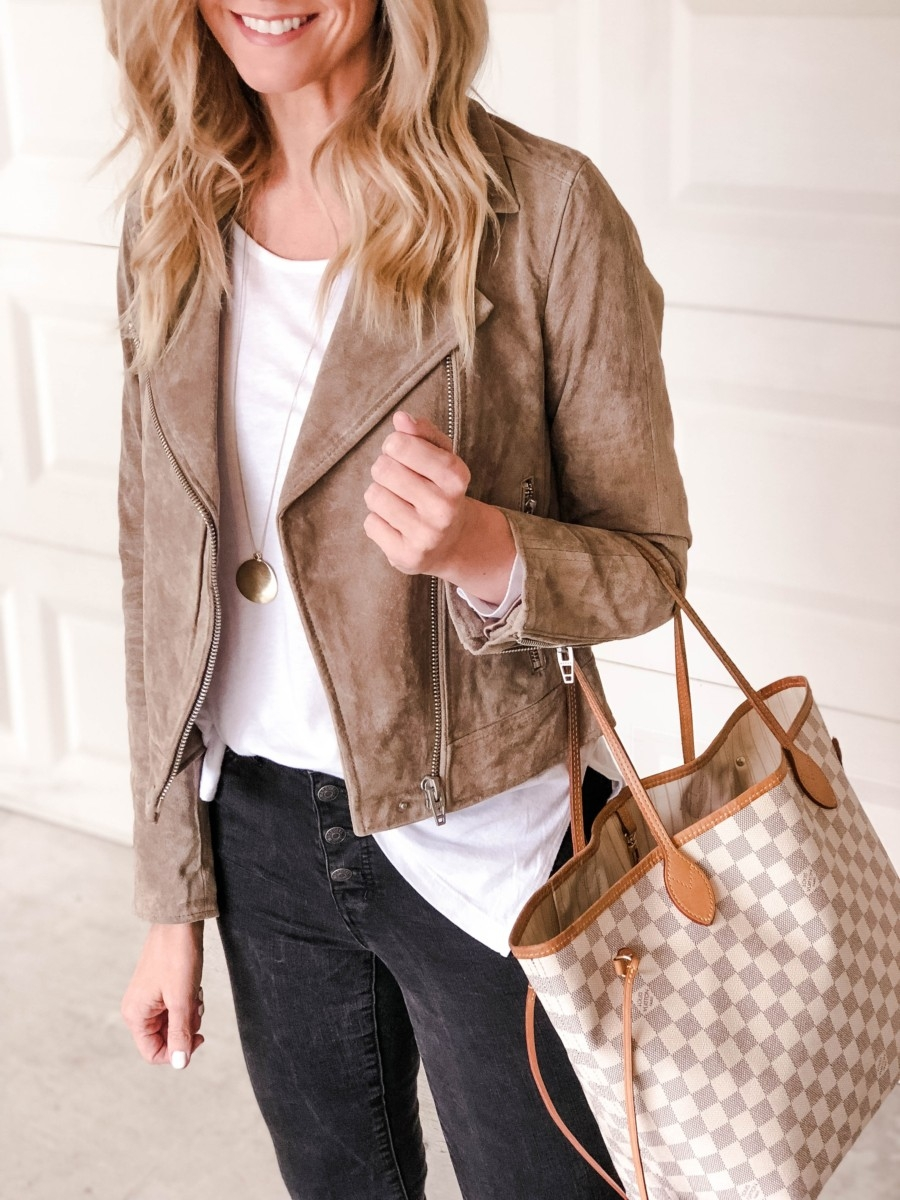 suede moto jacket | Patagonia | Adidas | Fashion | Fall Fashion Favorites | Nordstrom Black Friday And Cyber Monday Sales featured by top Houston fashion blog Haute & Humid