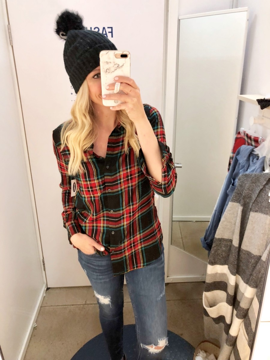 tartan top | Old Navy Fall Favorites Sale Round Up featured by top Houston fashion blog Haute & Humid