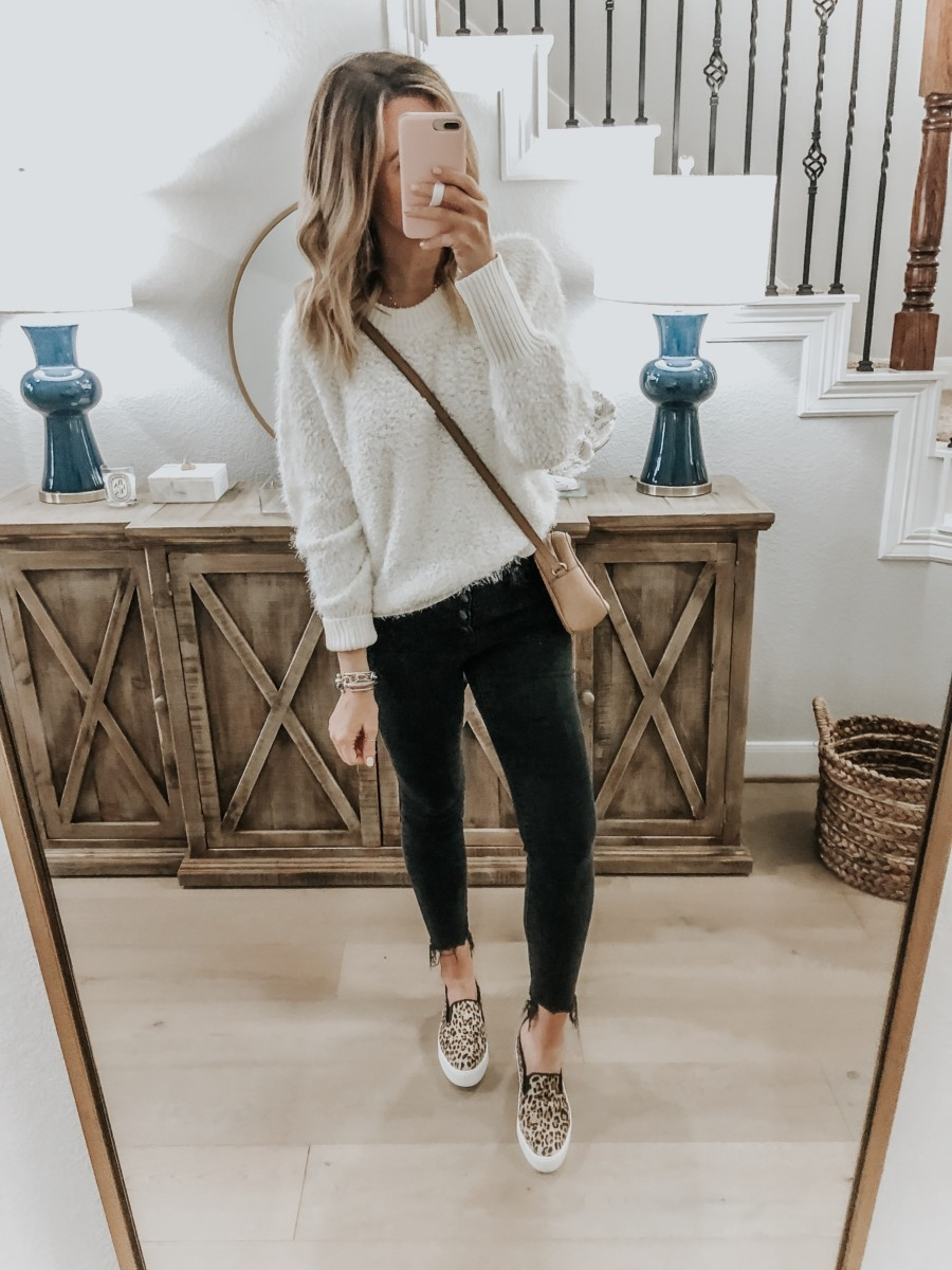 Friday Five featured by top US life and style blog Haute & Humid; Image of woman wearing BP sweater, Madewell skinny jeans, Halogen shoes and gucci soho disco bag
