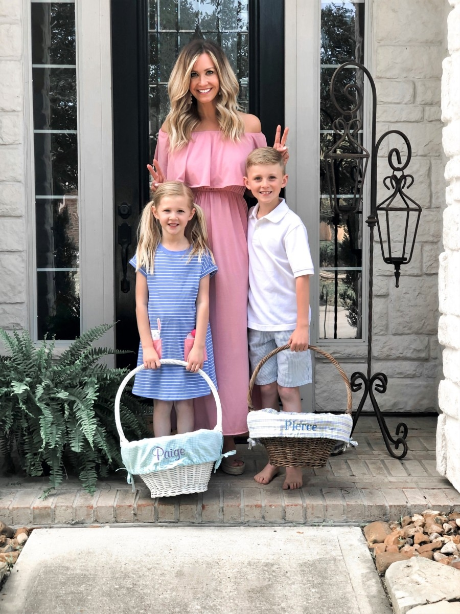 amazon fashion | 50+ Ideas for Non-Candy Easter Baskets featured by top US life and style blog, Haute & Humid; Image of woman with children; image of a woman wearing an Amazon maxi dress, Sole/Society shoes, BaubleBar earrings, Amazon seersucker short, Target striped girls dress and pottery barn baskets
