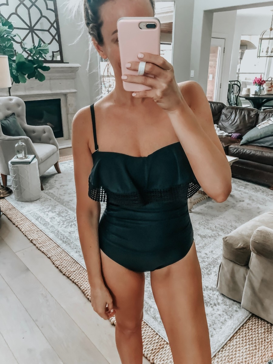 target swimsuit | 8 Affordable Swimsuits For Summer featured by top US life and style blog, Haute & Humid; image of a woman wearing a Target swimsuit