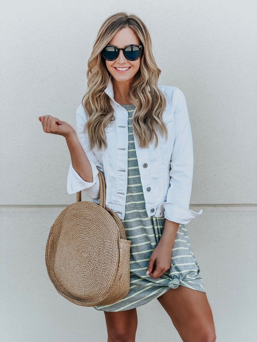 Spring Wardrobe featured by top US fashion blog Haute & Humid; Image of a woman wearing a striped dress from Walmart.
