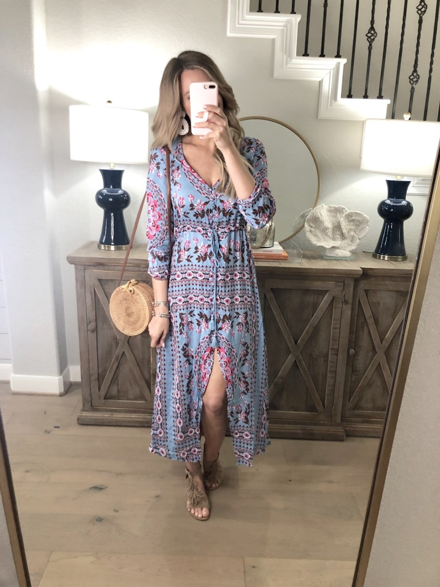 Spring Favorites featured by top US fashion blog Haute & Humid; Image of a woman wearing Amazon maxi dress, Sole Society sandals, Amazon straw bag and Amazon earrings.