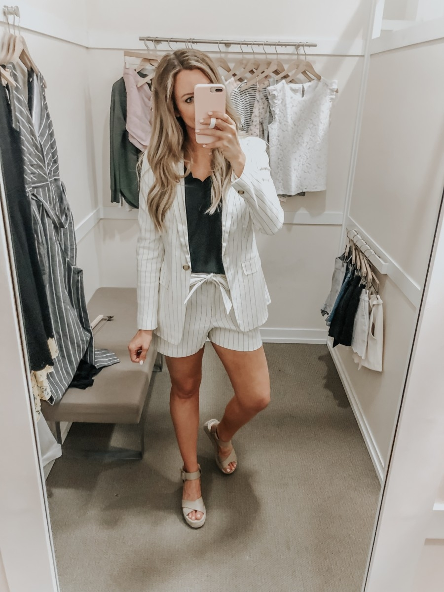 two piece set | LOFT Favorites: Spring Dressing Room Try-On Session featured by top US fashion blog, Haute & Humid; image of woman wearing a LOFT stripe blazer and tie wasted shorts