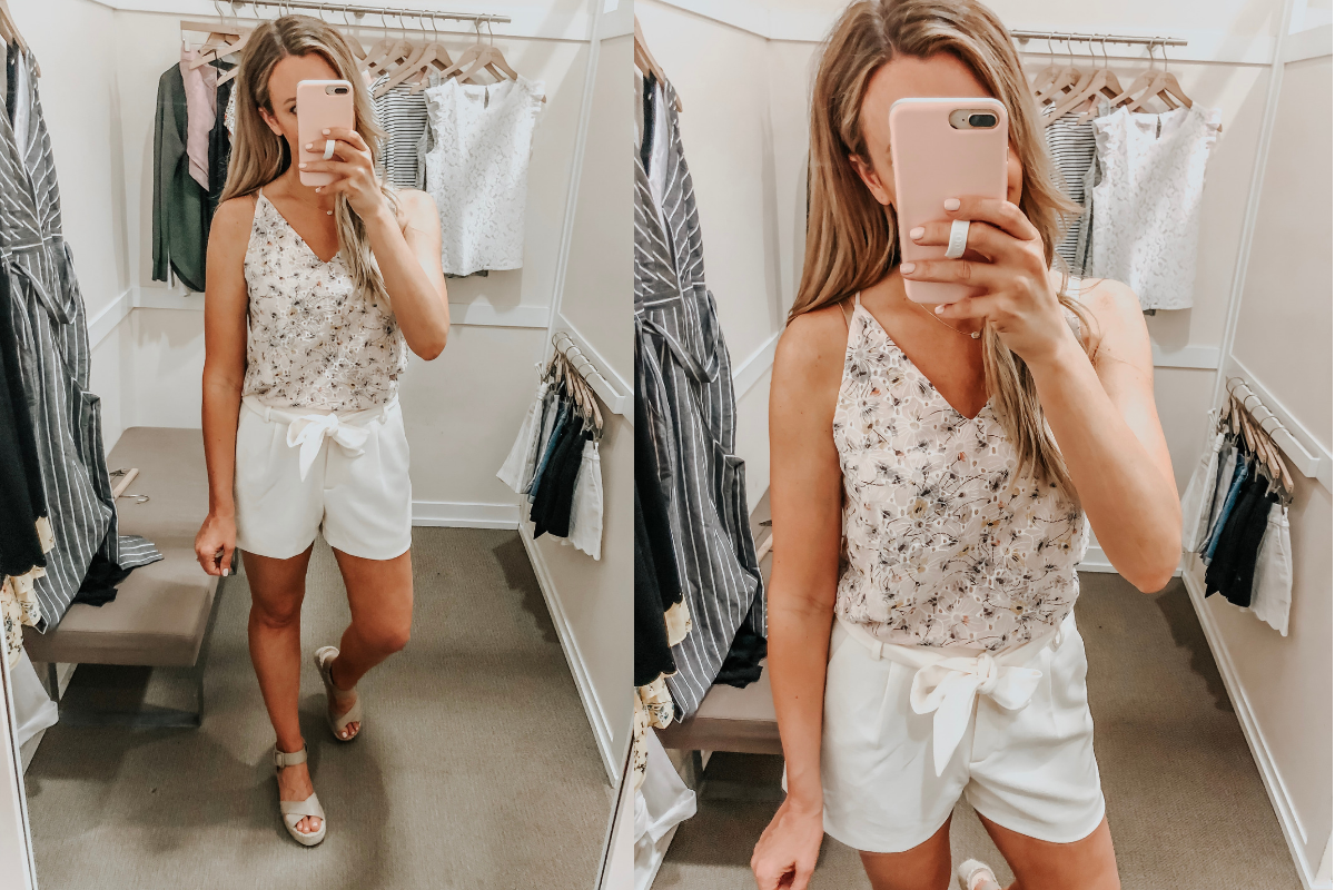 spring cami and shorts   LOFT Favorites: Spring Dressing Room Try-On Session featured by top US fashion blog, Haute & Humid; image of woman wearing a LOFT floral eyelet cami and high wasted shorts