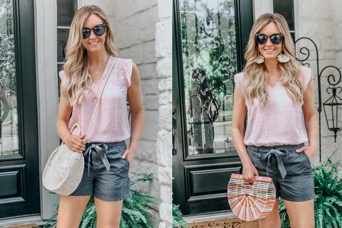 spring bags | LOFT Favorites: Spring Dressing Room Try-On Session featured by top US fashion blog, Haute & Humid; image of woman wearing a LOFT lilac top and tie waist shorts, Walmart crossbody bag, amazon rainbow arc bag and earrings