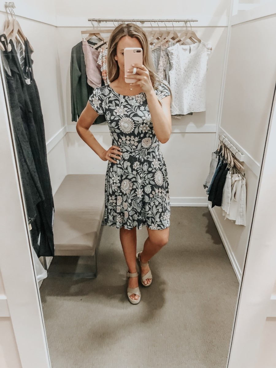 spring dress   LOFT Favorites: Spring Dressing Room Try-On Session featured by top US fashion blog, Haute & Humid; image of woman wearing a LOFT floral open back dress
