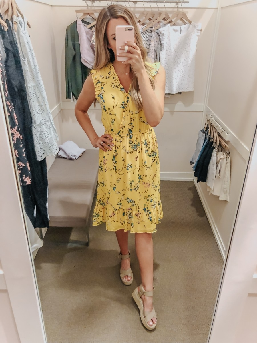 wedding guest dress   LOFT Favorites: Spring Dressing Room Try-On Session featured by top US fashion blog, Haute & Humid; image of woman wearing a LOFT yellow dress