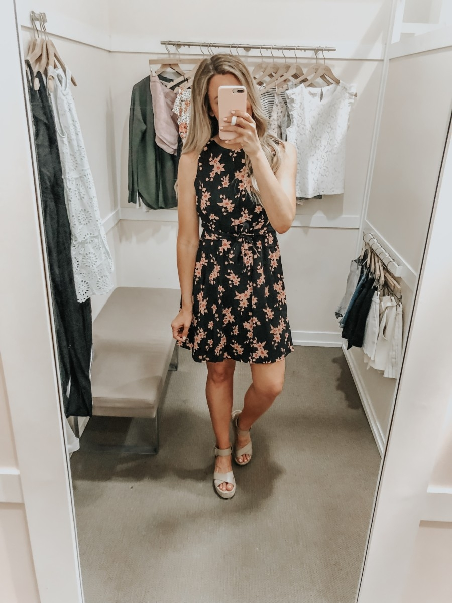 spring dress   LOFT Favorites: Spring Dressing Room Try-On Session featured by top US fashion blog, Haute & Humid; image of woman wearing a LOFT Tie front floral dress