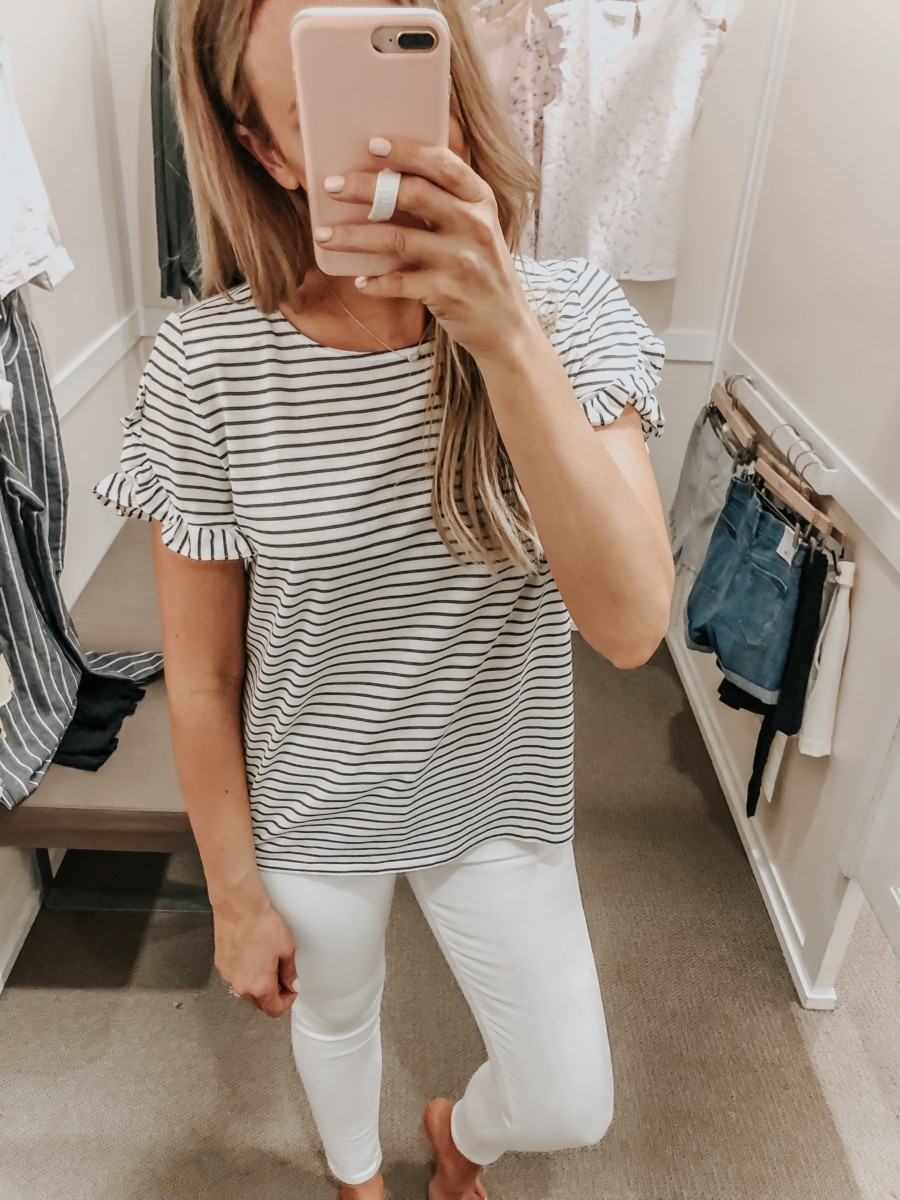 LOFT Spring Dressing Room   LOFT Favorites: Spring Dressing Room Try-On Session featured by top US fashion blog, Haute & Humid; image of woman wearing a LOFT striped ruffle sleeve tee