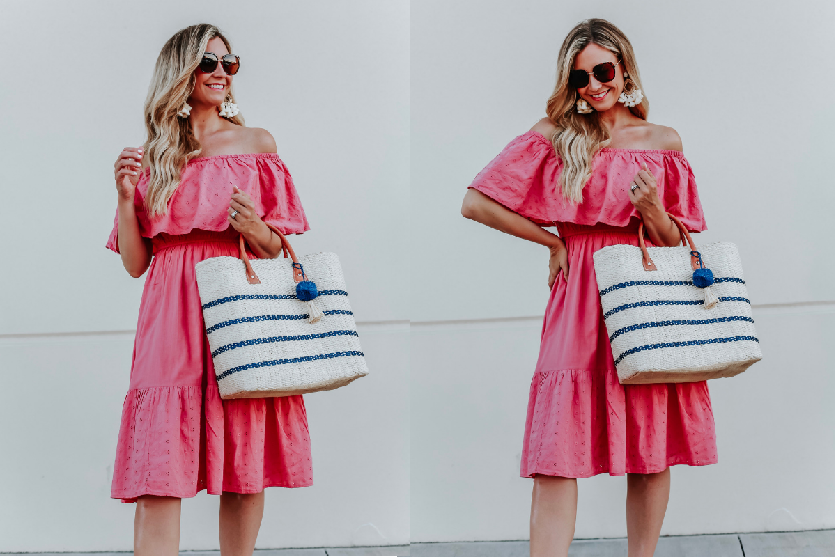 cute summer dresses | 3 Cute Summer dresses by popular Houston fashion blog Haute and Humid: image of woman wearing a pink off shoulder and eyelet Sofia Jeans by Sofia Vergara, brown Circus by Sam Edelman espadrilles, sunglasses, cream hoop tassel earrings, and holding an Eliza May Rose Small Toile Basket Tote from Walmart.
