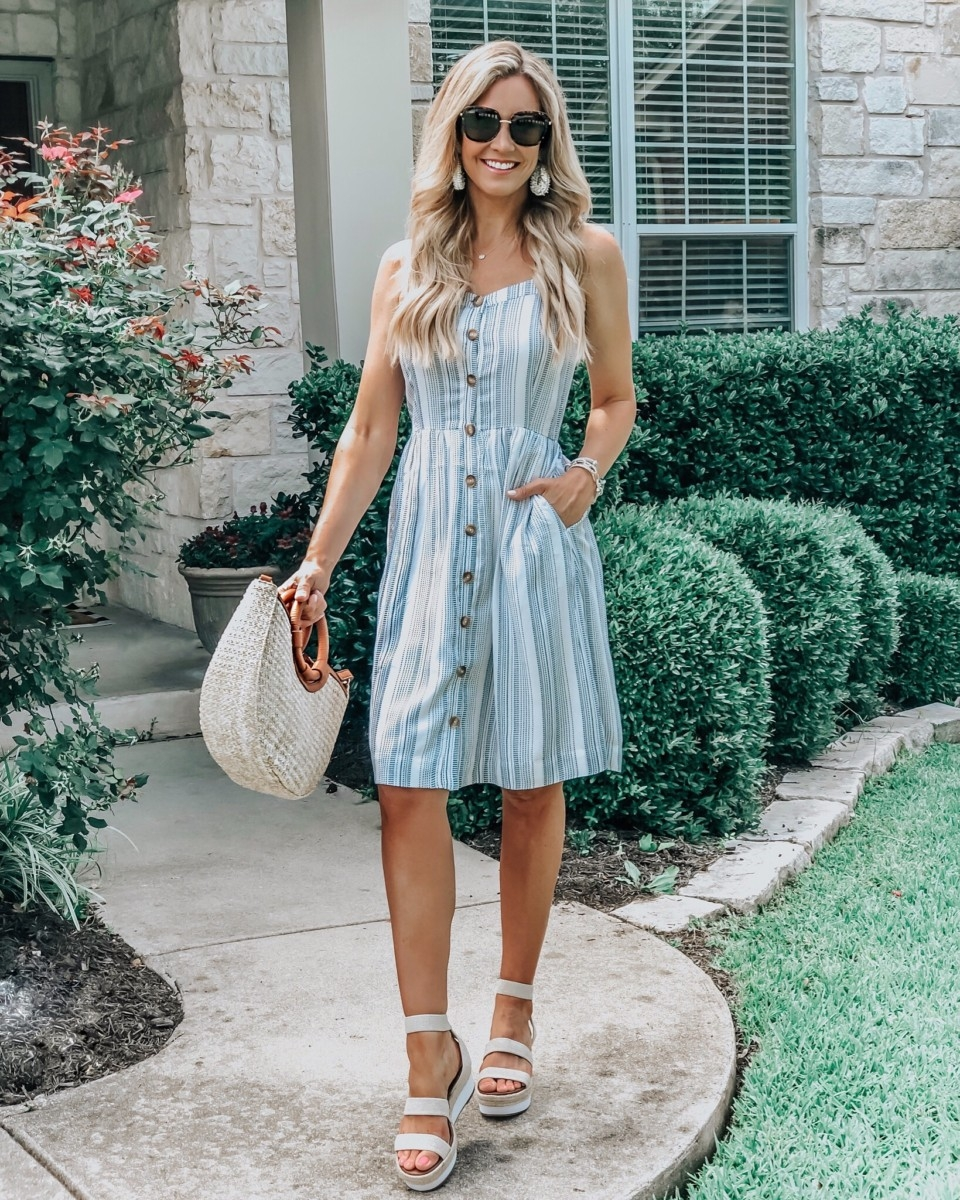Baby Shower Food Ideas featured by top US life and style blog Haute & Humid; Image of a woman wearing LOFT dress, Sole Society wedges, Amazon sunglasses and Amazon earrings.