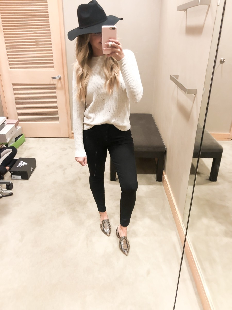 nordstrom anniversary sale early access | Nordstrom Anniversary Sale Early Access 2019- Best Of Basics by popular Houston fashion blog, Haute and Humid: image of a woman in a dressing room wearing a Flecked Crewneck Sweater by SOMETHING NAVY, 9-Inch Raw Hem Ankle Skinny Jeans by MADEWELL, Toby Flat by SARTO BY FRANCO SARTO, and Joanna III Wool Felt Hat by BRIXTON.